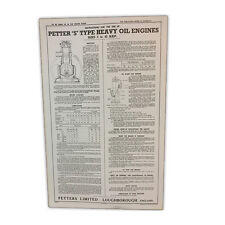Stationary Engine Wall Chart - Petter S Type Heavy Oil Engines Sizes 5 - 42 B.H