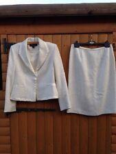 Women WW2 Time Wool Mix Snow White Vintage Wedding Suit Jacket & Skirt Cream 12