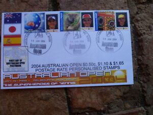 3 DIFFERENT  P STAMP RATES 2004 AUST OPEN TENNIS COVER RARE