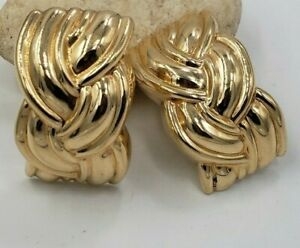 Braided Hollow Earrings in 14kt Yellow Gold Omega Back
