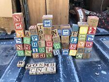 Lot 64 Vintage/Antique Wooden Building Blocks Alphabet Animals Characters & More