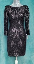Forever Unique Dress UK 8 Black Sequin Low Back Classic Elegant Party Red Carpet