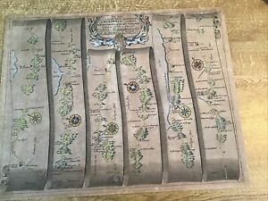 ANTIQUE MAP ST DAVIDS TO TALYBONT NORTH WALES BY JOHN OGILBY 1675 FROM BRITANNI