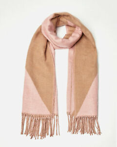 Oliver Bonas Women Diamond Splice Brown & Pink Square Scarf