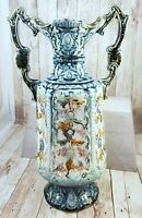 "14"" Antique Majolica Pottery Double Handled Floral Blue Vase - marked 793"