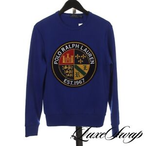 NWT #1 MENS Polo Ralph Lauren Royal Blue Huge Cookie Patch Crewneck Sweatshirt S