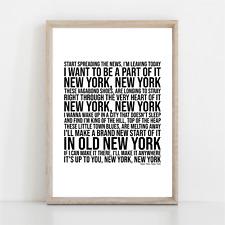 More details for frank sinatra new york , new york song lyrics poster print wall art