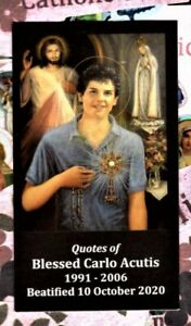 "Blessed Carlo Acutis with Quotes (2"" x 3 1/2"") Heavy Paperstock Holy Card"
