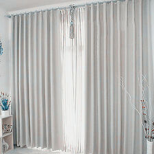 New Pair of Coated Blockout Curtains/Liners 2x130X240cm Light Grey White AC029G