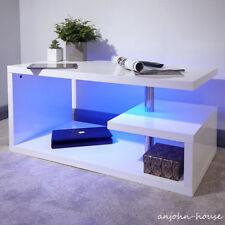 LED Light High-gloss White Coffee Side Table Living Room Unit Modern Furniture