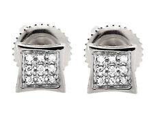 10K White Gold 5MM Curve Square Kite Genuine Diamond Stud Earrings .05Ct