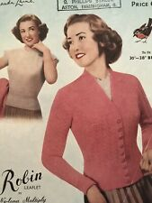 1950s Twin Set Cardigan Nipped Waist Scalloped Knitting Pattern Robin 668 PDF