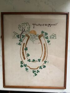 Irish Horse Shoe And Four Leaf Clover Art Embroidery  (Very Old)
