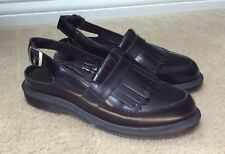 Dr. Martens Valentine Slingback Kiltie Loafers Smooth Black Leather, UK 4 / US 6