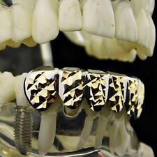2-Tone Grillz Silver Tone w/ 14K Gold Plated Diamond-Cuts 6 Bottom Teeth Grills