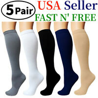 (5 Pairs)15-20mmHg Graduated Compression Support Socks Knee High Men Women S-XXL