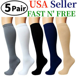 (5 Pairs)15-20mmHg Graduated Compression Support Socks Knee High Men Women S-XXL