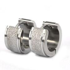 Men's Stainless Steel Black Hoop Earrings Stud Plug Ear 1 Pair New