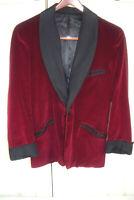 1930s Red Velvet Smoking Dinner Jacket Size 38R One Button Vintage Blazer