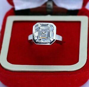 14K White Gold Over 3 Ct Asscher Cut Diamond Bezel Set Solitaire Engagement Ring