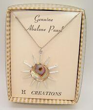 NOS VTG Hoffman H Creations Sun starburst Abalone Pearl Necklace Mod boho