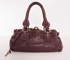 CHLOE Womens Plum Burgundy Paddington Leather Satchel Shoulder Bag Handbag Purse