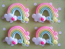 4 x Rainbow Heart Clouds Kawaii Resin Cabochon Flatback Scrapbooking Craft DIY