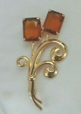 with 2 Large Smoke Topaz Crystals Nolan Miller Large Gold Tone Flower Pin