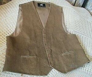 Mans light brown soft cotton cord waistcoat  by PEGASUS Size  50-52 chest
