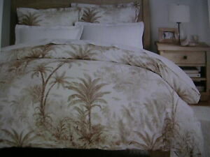 POTTERYBARN PALM TOILE DUVET COVER KING/CAL KING NEUTRAl NEW WITH TAGS