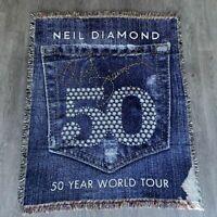 Neil Diamond 50 Year World Music Tour Commemorative Throw Blanket Rug 63 x 52