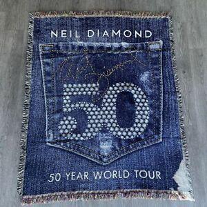 Neil Diamond 50 Year World Music Commemorative Throw Blanket Rug 63 x 52 *READ