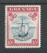 Grenada KGVI 1938-50 10/- blue-black & bright carmine (wide) SG163f  MNH
