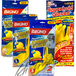 2 Pairs Household Cleaning Rubber Gloves Strong Multi-Purpose Gloves, S,M,L,XL