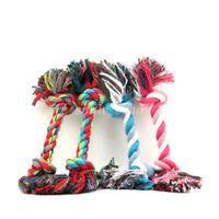 1X Puppy Dog Cat Pet Toy Chew Knot Cotton Braided Bone Rope Teeth Clean Tug