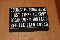 "Primitives by Kathy 8"" x 5"" Wooden Box Sign ""Courage is Taking Those First...."""