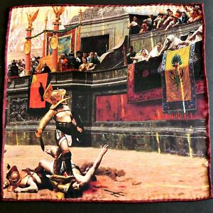 Pollice Verso - Jean-Leon Gerome | Hand Rolled Satin Silk Pocket Square Painting
