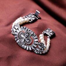 Zara elegante 2 filas perlas de diamantes de imitación Pulsera de aspecto Vintage Deco Nuevo