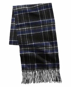 Club Room Mens Accessories Blue One Size Scarf Plaid Fringe Cashmere $120 #077