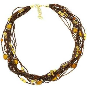 GlassOfVenice Murano Glass Alessia Necklace - Golden Brown