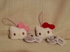 New listing Sanrio Hello Kitty Plush Stuffed Cell Phone Strap Charm Lot of 2 Round 1