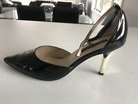 Jane Debster Tiara Black Patent Strappy Heels Size 9