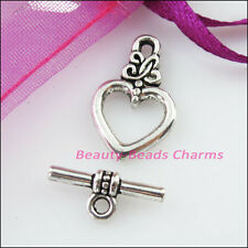 10 New Connectors Necklace Lovely Heart Toggle Clasps Tibetan Silver