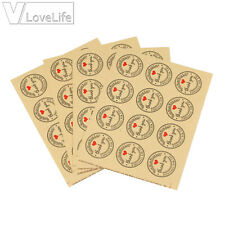 "60pcs Kraft Paper Heart ""Thank You"" Adhesive Seal Sticker Label Envelope Decor"