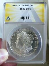 1883-CC Morgan Dollar ANACS MS63 PL light cameo with prooflike fields