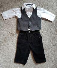 Boys Suit - black cord trousers, shirt & waistcoat 3-6 months exc condition