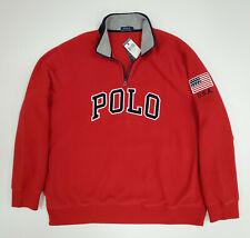 Men Polo Ralph Lauren Polar Fleece Sweater 1/4 Zip Sweatshirt Size XXL Red Blue