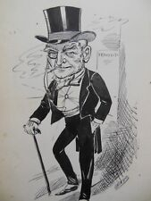 Original Christopher Davis Caricature Portrait c1886 - Political, Theatrical?
