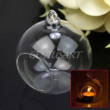 Lanterna in Vetro Sfera Trasparente Portacandele Portalumino da Tavolo Decoro