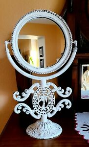 Vintage Shabby Chic Metal White Mantle Mirror Ornate Nautical Tropical